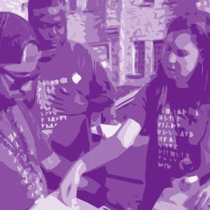 faded purple picture of voting registration drive shows organizer level membership with Drink Your Values