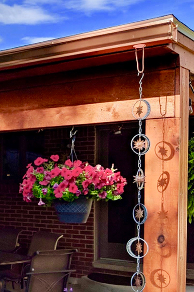 copper gutters with flowers