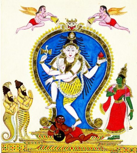 Painting showing Nataraj Shiva, with Parvati on his left and Sages Vyaghprada and Patanjali on his right.