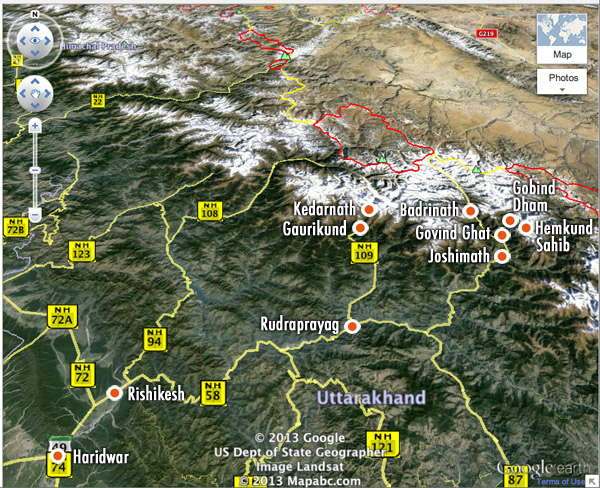 Map of Hemkund and surrounding areas