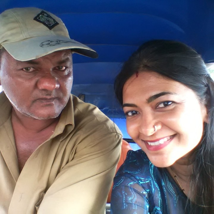 With the auto driver :-)