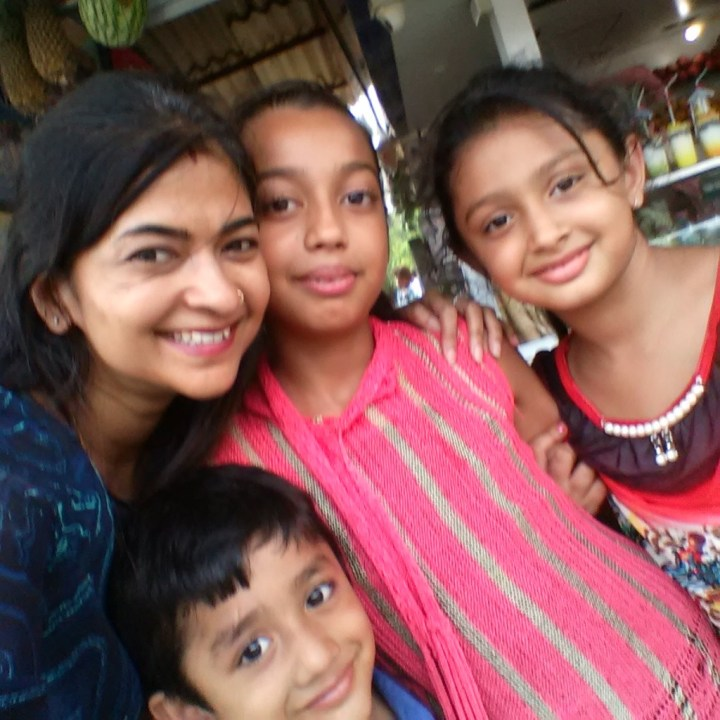 With kids at Juhu beach
