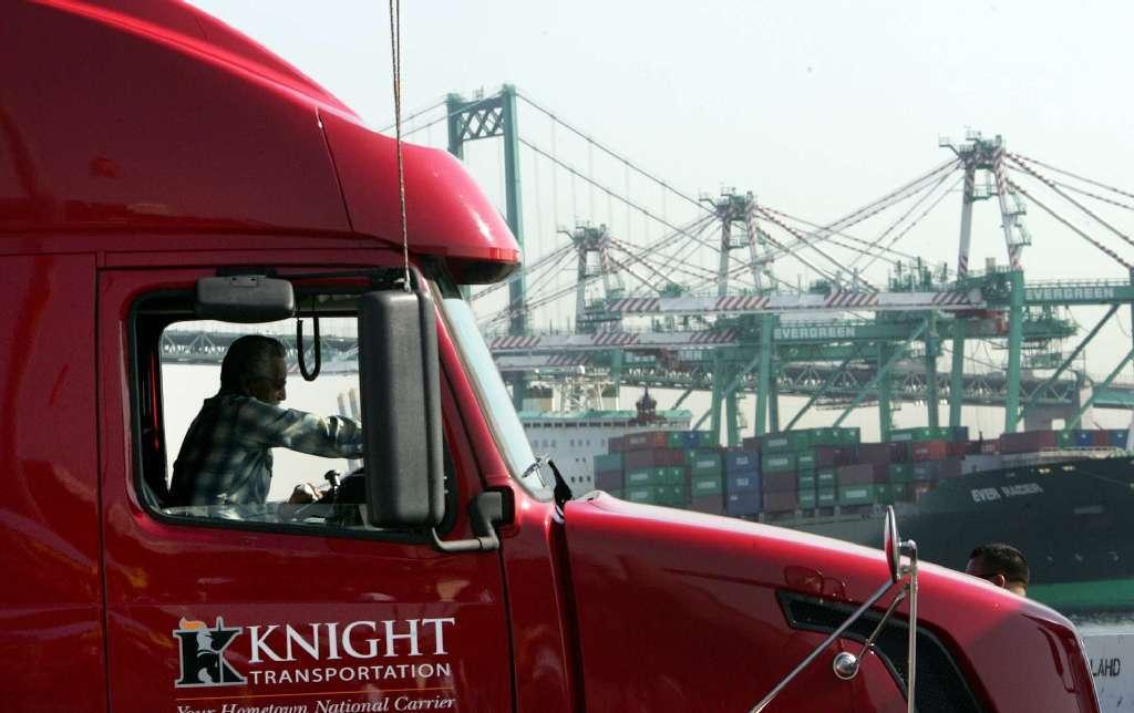 Knight Transportation port & rail truck leaving Los Angeles, CA yard