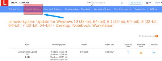 Lenovo System Update for Windows 10
