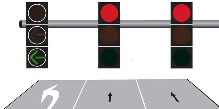 Green left turn arrow - arrangement