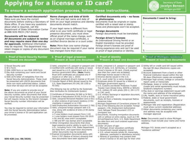 Document Checklist Michigan