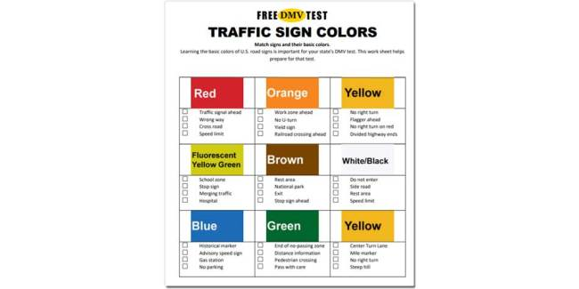 traffic sign colors - work sheet