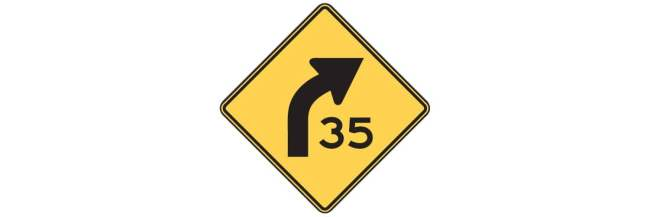 Curve Sign with Advisory Speed
