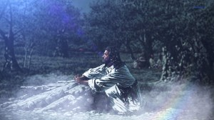 Jesus prays in the Garden of Gethsemane