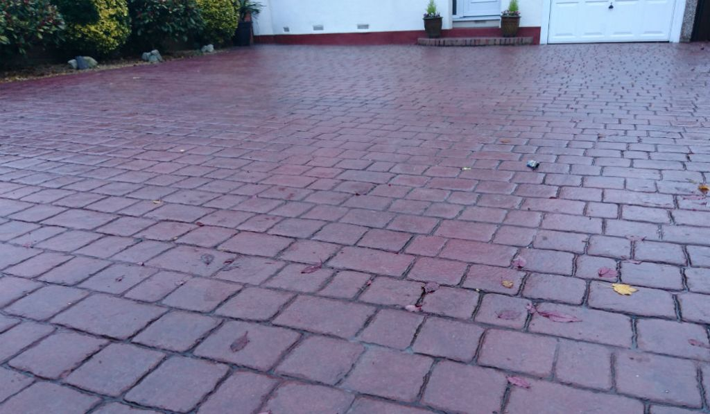 close up of an imprinted driveway red
