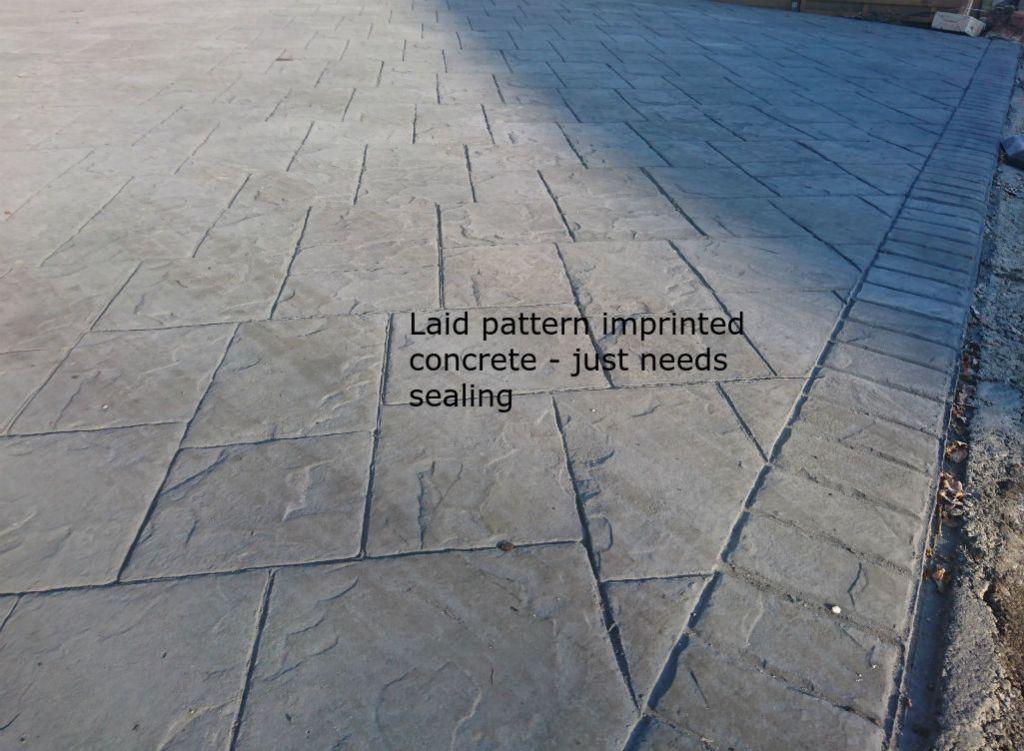 pattern imprinted concrete before sealing