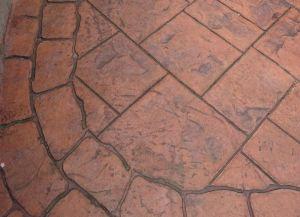 terracota colour pattern imprinted concrete driveway