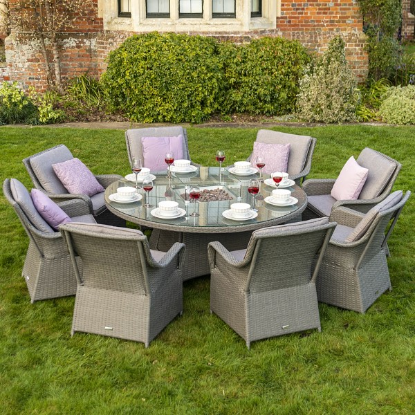 Bracken Outdoors Washington 8 Seat Round Rattan Garden Furniture Gas Fire Pit