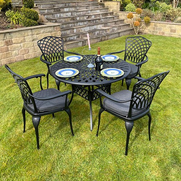 Charles Bentley Cast Aluminium Table and Chairs Set