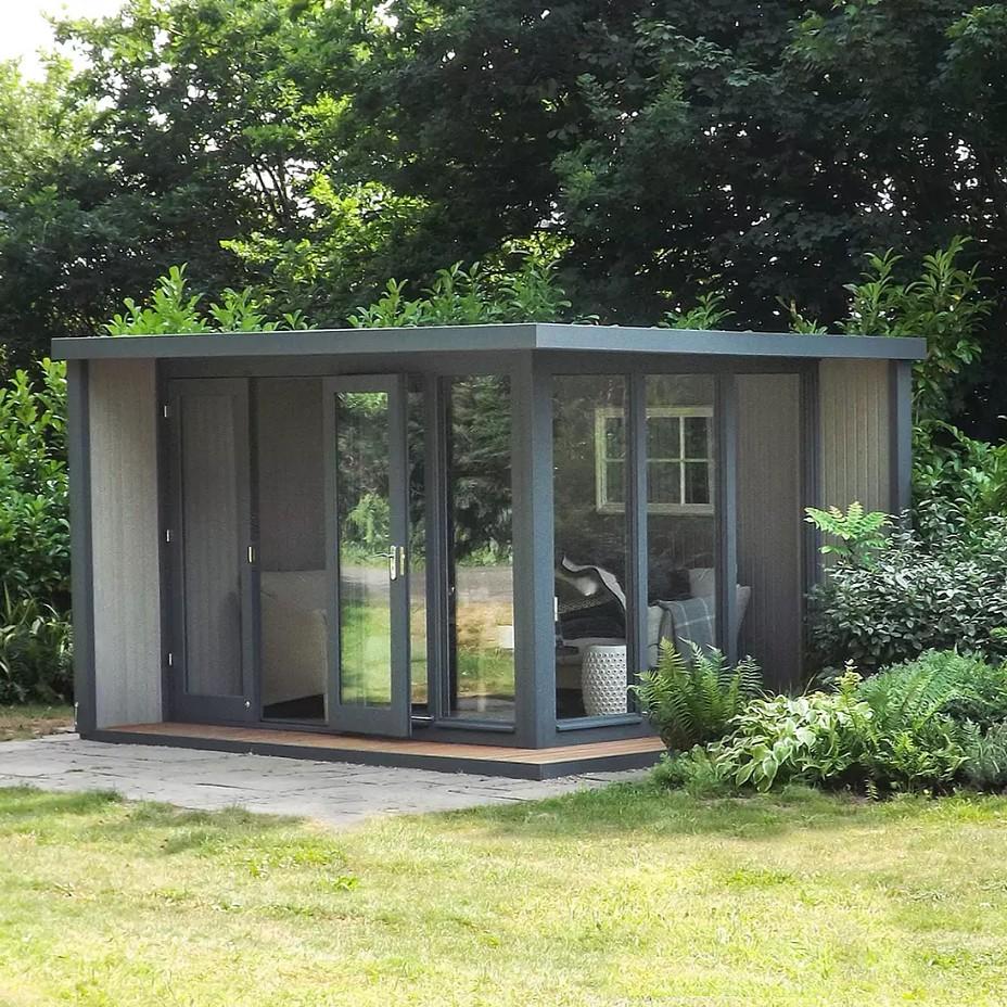 Crane Garden Buildings 3 x 3.6m The Hub Outdoor Left-Hand Corner Studio, FSC-Certified (Scandinavian Redwood)