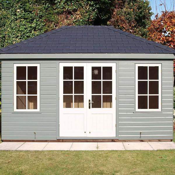 Crane Garden Buildings 3.0 x 4.2m Large Garden Room, FSC-Certified (Scandinavian Redwood), Sage