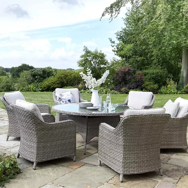 KETTLER Charlbury 6-Seater Garden Dining Table & Chairs Set, Natural