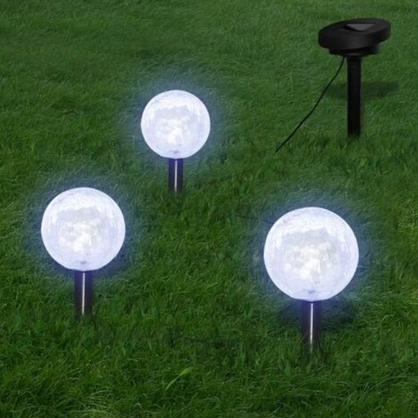 Solar Bowl 3 LED Garden Lights with Spike Anchors & Solar Panel