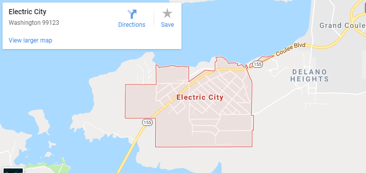 Maps of Electric City, mapquest, google, yahoo, driving directions