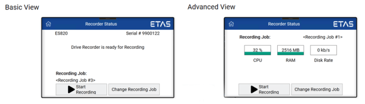 Two available menus for the control of recording jobs and monitoring memory