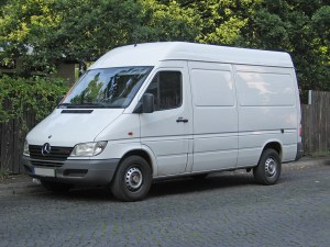 Old style Mercedes Sprinter - White van ideal for freelance couriers and parcel deliveries.
