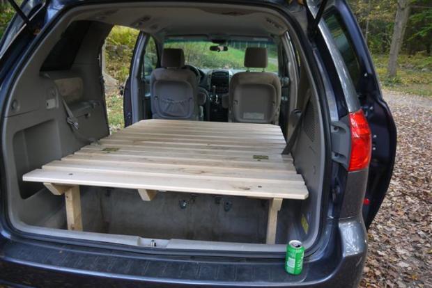 Toyota Sienna platform bed complete!