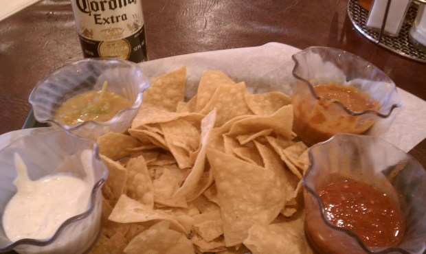 Chips and salsas, drinks: yummy; pretty much everything else: meh.
