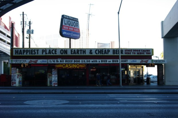 Stage Door, your best bet for drink deals. Across the street from Bally's.