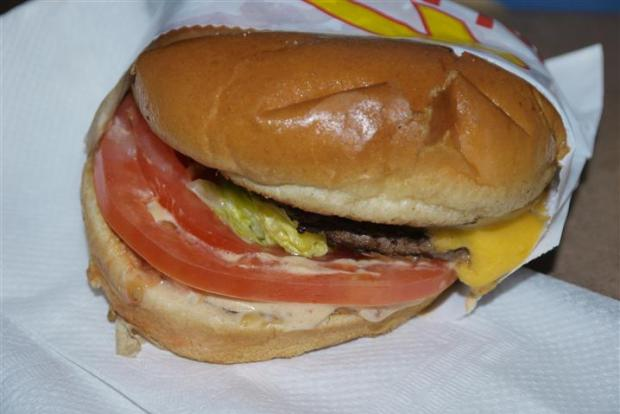 In-N-Out burger, listing to starboard.