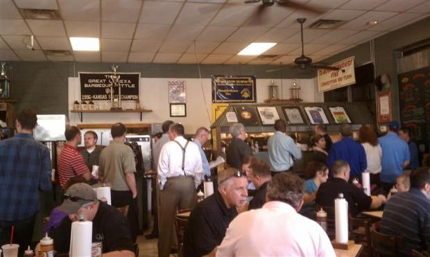 Beginning of lunch insanity -- Oklahoma Joe's at about 11:30AM.