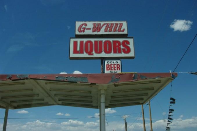 G-Whil Liquors. Gee whiz, I hope I don't get murdered.