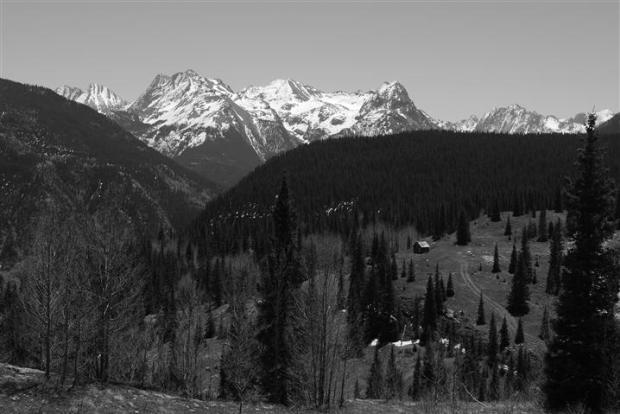 Shack, mountains.