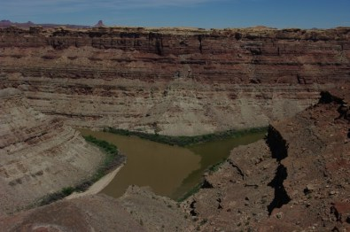 The confluence of the Green (Ieft) and Colorado (right) rivers.