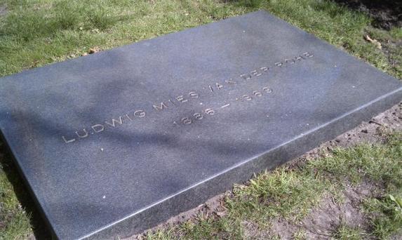 Mies Van Der Rohe's gravestone in Chicago.