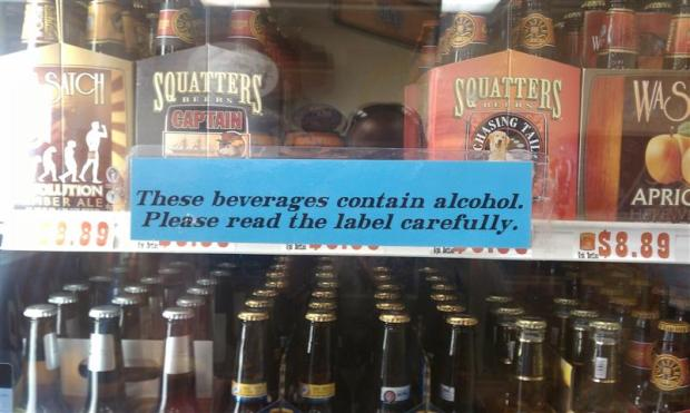 Posted everywhere 3.2 is sold: These beverages contain alcohol (barely). Please read the label carefully.