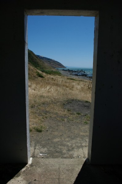 Looking out the lighthouse door.