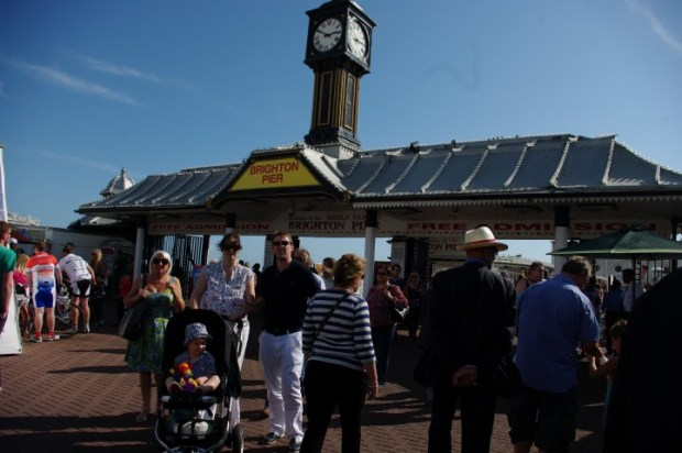 The entrance to the Pier; a shell-shocked family.