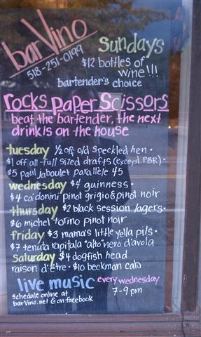 Rock, Paper, Scissors -- beat the bartender, the next drink is on the house. Amazing.