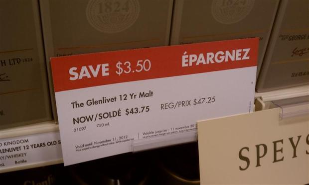 Glenlivet $43.75, 750mL ... it's $59.99 for 1.75L at Binny's in Chicago.