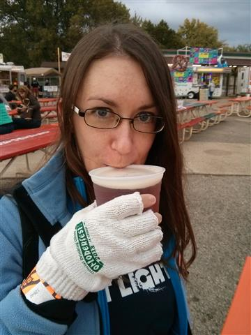 Lisa and her drinking glove.