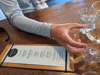 The menu at Colorado Vintner's Collective