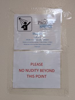 Fun Pagosa shower signage.