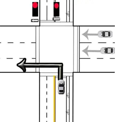 left turn red light