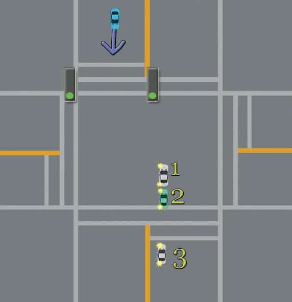 vehicles in intersection