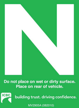 ICBC N New Driver Sign