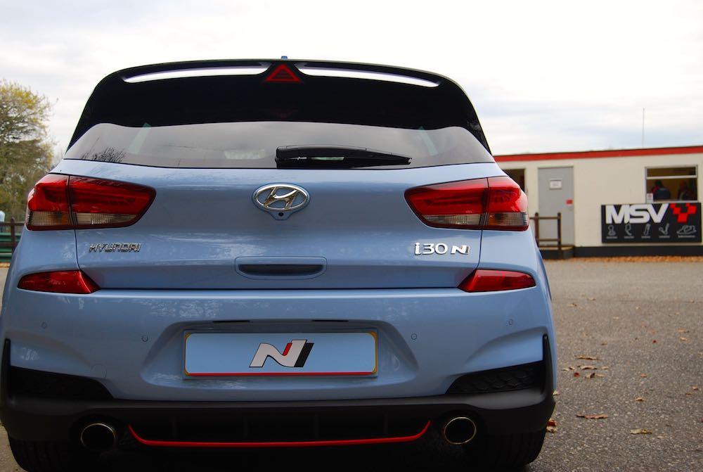 hyundai i30 n rear blue