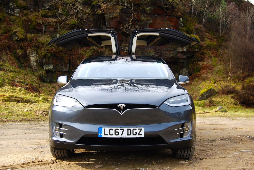 Tesla Model X falcon wing doors open