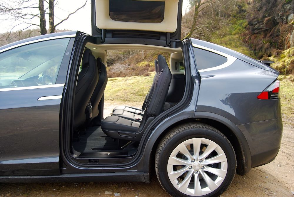 Tesla Model X rear doors open