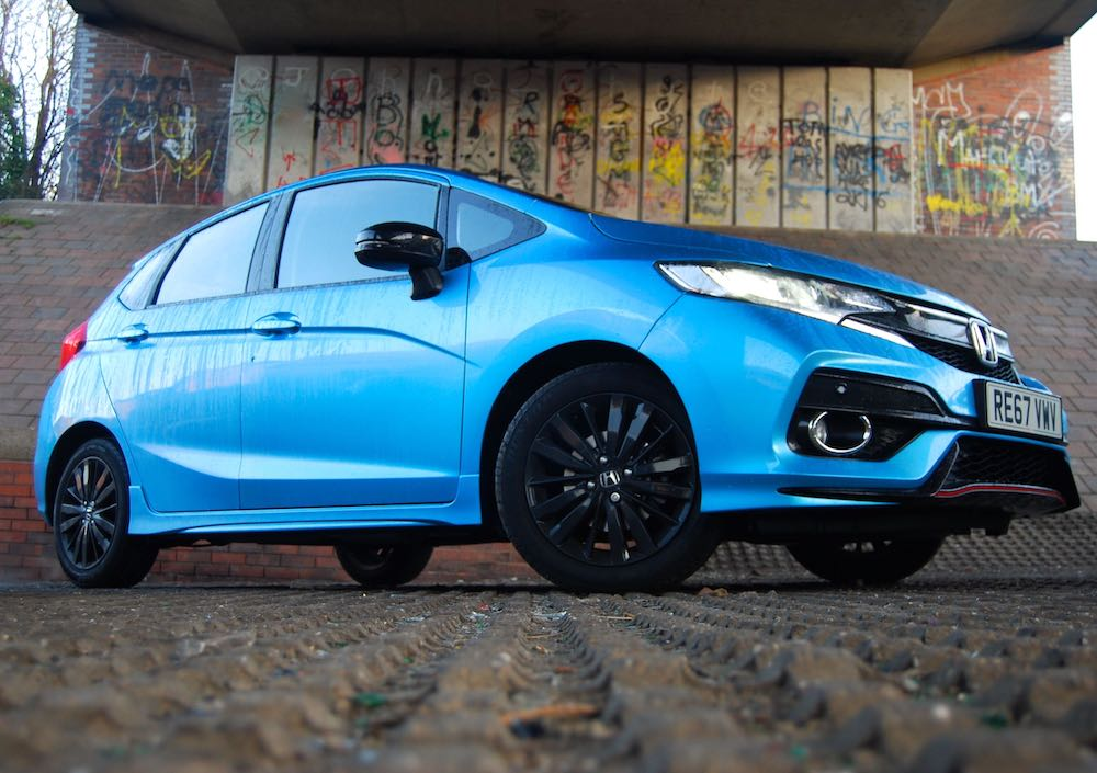 honda jazz sport blue low side front review road test