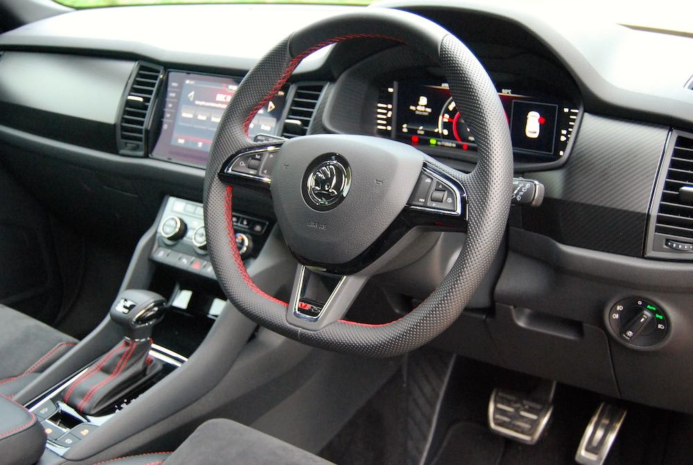 2019 skoda kodiaq vrs dashboard red stitching review roadtest